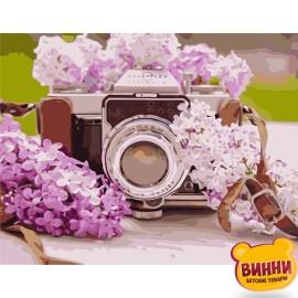 Купить картину по номерам Фотоаппарат и сирень, 40*50 см, VA-1080