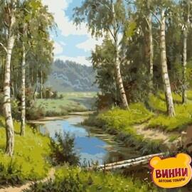 Купить картину по номерам Речка в берёзовом гаю, 40*50 см, VA-1521