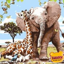 Купить картину по номерам Лучшие друзья- слоненок и жираф, 40*50 см, VA-1733