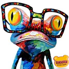 Купить картину по номерам Strateg Лягушонок в очках поп-арт, 40*50 см, VA-2112