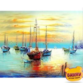 Купить картину по номерам Залив с лодками, 40*50 см VA-2121