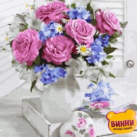 Купить картину по номерам RainbowArt Букет роз в вазе, 40*50 см, GX36532