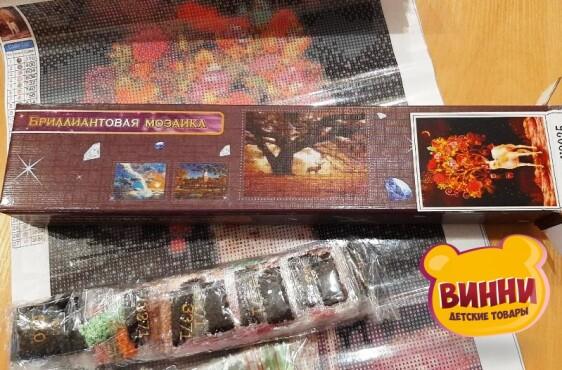 Купить алмазную мозаику Лес в снегу 30*40 см, без рамки, в коробке, H8743