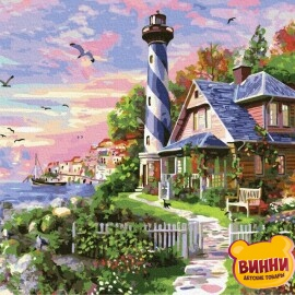 Купить картину по номерам RainbowArt Чайки у маяка, 40*50 см, GX33476