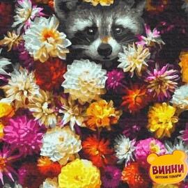 Купить картину по номерам RainbowArt Енот в цветах 40*50 см, GX34614