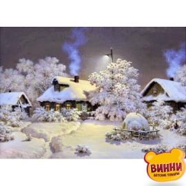 Купить алмазную мозаику Зима в деревне 30*40 см, с рамкой, в коробке, H8162