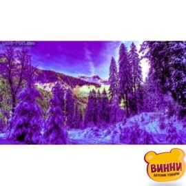 Купить алмазную мозаику Фиолетовый снег 30*40 см, с рамкой, в коробке, H8930