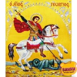 Купить алмазную мозаику Георгий Победоносец 30*40 см, без рамки, в коробке, H8116