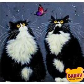 Купить алмазную мозаику Черно-белые коты, 30*40 см, без подрамника, в коробке, H8203