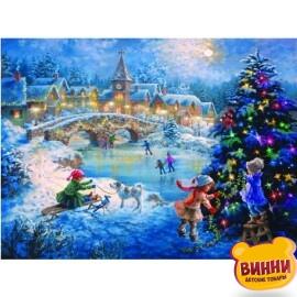Купить алмазную мозаику Новогодняя ночь 30*40 см, без рамки, в коробке, H8208