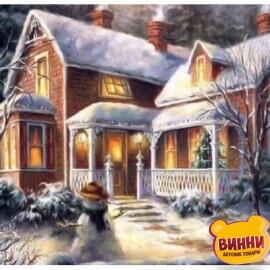 Купить алмазную мозаику Зимняя усадьба 30*40 см, без рамки, в коробке, H8230-1