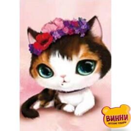 Купить алмазную мозаику Цветочный кот, 30*40 см, без подрамника, в коробке, H8256
