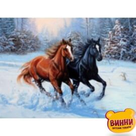 Купить алмазную мозаику Пара скакунов на снегу 30*40 см, без рамки, в коробке, H8352