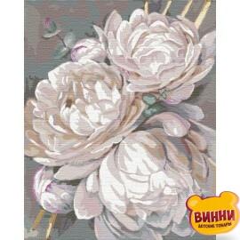 Купить картину по номерам Идейка Белый пион с золотой краской © Худ. Алессандра Озерова, 40*50 см KHO3115