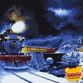 Купить картину по номерам Artissimo Поезд в зимнюю сказку, 40*50 см, PN5252