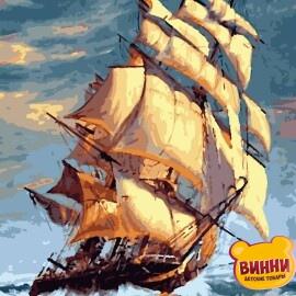 Купить картину по номерам Artissimo На всех парусах, корабль, парусник,40*50 см, PN5405