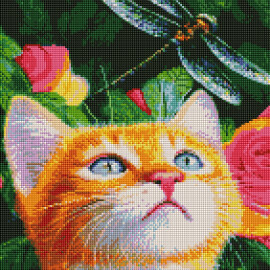 Купить алмазную мозаику ArtStory ASM16 Кот и стрекоза