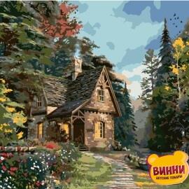 Купить картину по номерам Strateg Уютный домик в лесу, 40*50 см, VA-0453