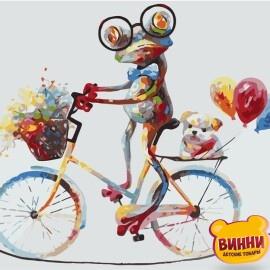 Купить картину по номерам Strateg Лягушонок на велосипеде, 40*50 см, VA-1040