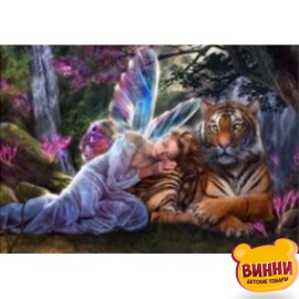Купить алмазную мозаику Красавица и тигр, 30*40 см, без подрамника, в коробке, H8441