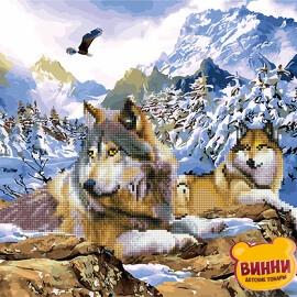 Купити алмазну картину - розмальовку за номерами 2в1 Вовки 40*50 см, GZS1010
