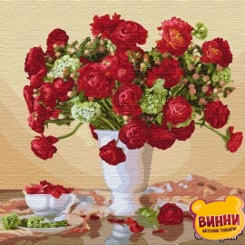 Купити картину за номерами Ідейка Багряный букет ©Ira Volkova, 50*50 см KHO13109