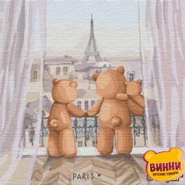 Купити картину за номерами Ідейка Родинна подорож у Париж, 30*30 см KHO2360