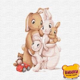 Купити картину за номерами Ідейка Маленька сім'я кроликів, 30*30 см KHO2361