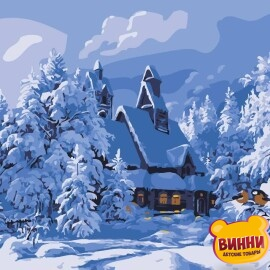 Купить картину по номерам Artissimo Зимний домик, 40*50 см, PN2727