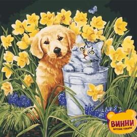 Купить картину по номерам ArtStory AS0570 Щенок и котенок