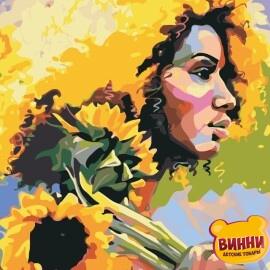 Купить картину по номерам ArtStory AS0901 Девушка с подсолнухами