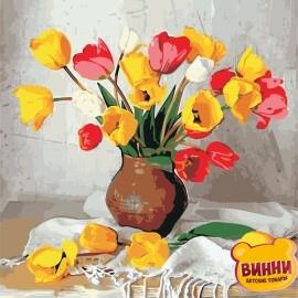 Картина за номерами ArtStory 40*40 см, AS0951 Цвітні тюльпани