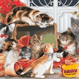 Купить картину по номерам ArtStory AS0960 Большая компания котов