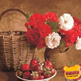Купить картину по номерам ArtStory AS0964 Клубника и цветы