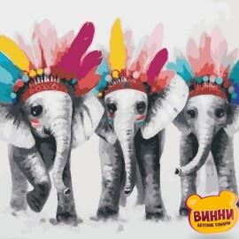 Купить картину по номерам ArtStory AS0971 Три слона
