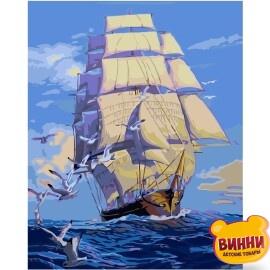 Купити картину за номерами STRATEG Корабель з білими вітрилами, 40*50 см, VA-0021