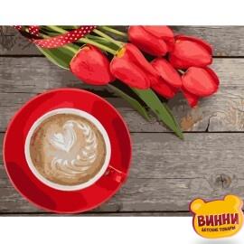Купити картину за номерами STRATEG Кава з тюльпанами 40*50 см, VA-1055