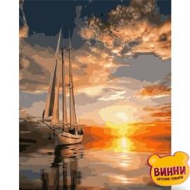 Купити картину за номерами STRATEG Яхта на заході сонця, 40*50 см, VA-1189