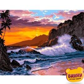 Купити картину за номерами STRATEG Захід сонця на березі океану, 40*50 см, VA-2211