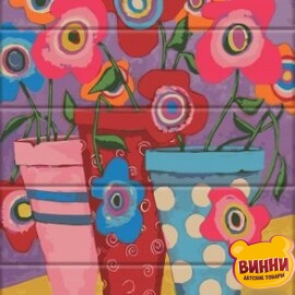 Купити розпис за номерами на дереві ArtStory Різнокольорові квіти 30*40 см, ASW146