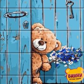 Купити розпис за номерами на дереві ArtStory Медведик з букетом 30*40 см, ASW055