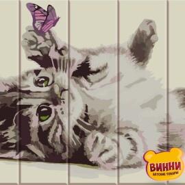 Купити розпис за номерами на дереві ArtStory Кошеня з метеликом 30*40 см, ASW056