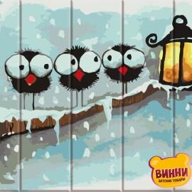 Купити розпис за номерами на дереві ArtStory Зимові пташки 30*40 см, ASW058