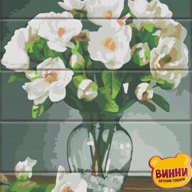 Купити розпис за номерами на дереві ArtStory Білі квіти 30*40 см, ASW142