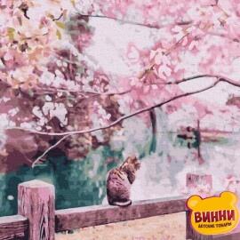 Купити картину за номерами RainbowArt Кіт біля озера, 40*50 см, GX30046