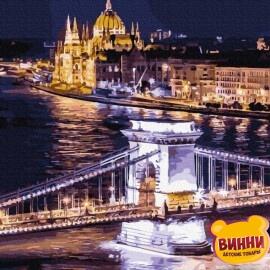 Купити картину за номерами RainbowArt Нічний Будапешт, 40*50 см, GX34367