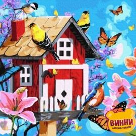 Купити картину за номерами RainbowArt Милий будиночок і пташки з метеликами, 40*50 см, GX35713