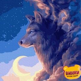 Купити картину за номерами RainbowArt Вовк у хмарах, 40*50 см, GX35848