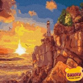 Купити картину за номерами RainbowArt Схід сонця, маяк, 40*50 см, GX36112