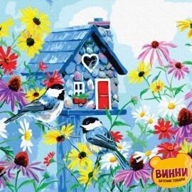 Купити картину за номерами RainbowArt Хатинка у квітах, 40*50 см, GX36238